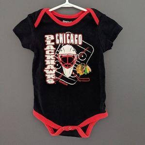 Reebok Chicago Blackhawks black & red onesie